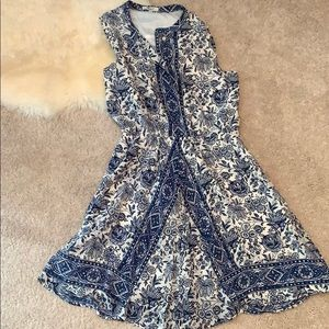 Made well blue and white silk dress - M